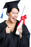 Graduating student with the diploma thumbs up Royalty Free Stock Photography
