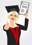 Graduating student girl in an academic gown Royalty Free Stock Images