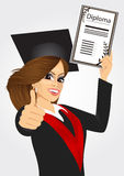 Graduating student girl in an academic gown Stock Photo
