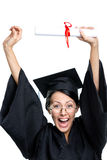 Graduating student puts the diploma over the head Royalty Free Stock Photography
