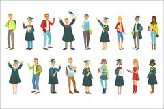 Graduating Students In Black Mantle Set. Of Simple Cartoon Flat Vector Colorful Characters On White Background Stock Photography