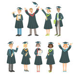 Graduating Students In Black Mantle Set. Of Simple Cartoon Flat Vector Colorful Characters On White Background Stock Images