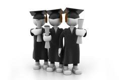 Graduating Students. 3d illustration of Graduating Students Stock Images