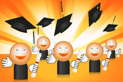 Graduating students with flying cups. Graduating students on shining background with flying caps Stock Photo