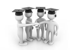 Graduating Students Hands together. 3d Graduating Students Hands together Royalty Free Stock Images