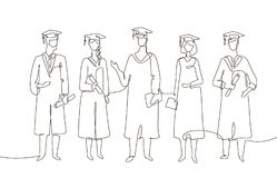 Graduating students - one line design style illustration. On white background. Composition with people in academic gowns wearing graduate caps, holding Royalty Free Stock Photo