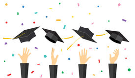 Graduating students of pupil hands. In gown throwing graduation caps in the air, vector illustration in flat style Royalty Free Stock Photo