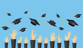 Graduating students of pupil hands. In gown throwing graduation caps in the air, vector illustration in flat style Royalty Free Stock Image