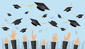 Graduating students of pupil hands. In gown throwing graduation caps in the air, vector illustration in flat style Royalty Free Stock Photography