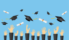Graduating students of pupil hands. In gown throwing graduation caps and diploma scroll in the air, vector illustration in flat style Stock Image