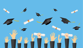 Graduating students of pupil hands. In gown throwing graduation caps and diploma scroll in the air, vector illustration in flat style Stock Photography