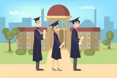 Graduating students at university. Graduating students standing at university in uniform with diploma Stock Photo