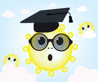 Graduating sun and sky. Cartoon sun  professor with sunglasses Stock Image