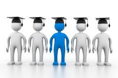 Graduating team. 3d illustration of Graduating team Royalty Free Stock Photography