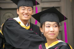 Graduation. Students in uniform, the day they graduate from university Royalty Free Stock Photo