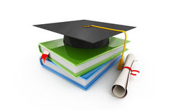 Graduation. Cap, books and diploma on white Stock Image