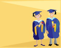 Graduation. A hand drawn illustration of two happy smiling students on graduation day with certificates on a yellow background Royalty Free Stock Photos