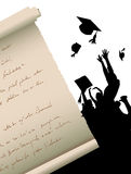Graduation. Silhouette  background illustration vector Royalty Free Stock Photography