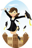 Graduation. A  illustration of a happy student celebrating her graduation Stock Photography