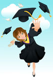 Graduation. A  illustration of a happy student celebrating her graduation Royalty Free Stock Photo