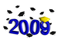 Graduation 2009 - Blue and Gold. Contemporary illustration of graduation caps tossed above year 2008. Blue and gold elements in faux 3-D on white background Royalty Free Illustration