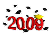 Graduation 2009 - Red and Gold. Contemporary illustration of graduation caps tossed above year 2008. Red and gold elements in faux 3-D on white background Stock Illustration