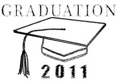 Graduation 2011 in stylized drawing. With mortar and tassel vector Royalty Free Stock Photo