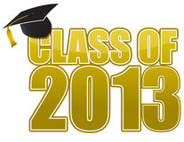 Graduation 2013. Gold and hat Graduation 2013 sign isolated over white Stock Images