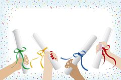 Graduation. Hand with diploma and confetti Royalty Free Stock Image