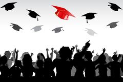 Graduation. Illustration of graduates tossing mortar board in air Stock Images
