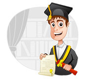 Graduation. A Graduate is wearing graduation gown and is holding a certificate Stock Photos