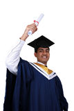 Graduation. Young Indian graduation picture isolated Royalty Free Stock Images
