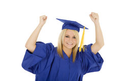 Caucasian woman wearing a blue graduation and excited Stock Images