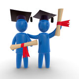 Graduation. Two abstract graduates holding diploma and wearing graduate's cap. Concept of celebration and graduation Royalty Free Stock Image