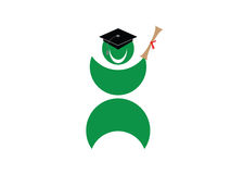 Graduation. Happy graduation, a man with diploma and cap. Eps8, vector, easy resizing or change colors Royalty Free Stock Photo