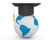 Graduation Academic Cap with Earth Globe Stock Image
