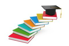 Graduation Academic Cap over Books as Steps Ladder. 3d Rendering. Graduation Academic Cap over Books as Steps Ladder on a white background. 3d Rendering vector illustration