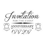 Graduation Anniversary Party Black And White Invitation Card Design Template With Calligraphic Text Royalty Free Stock Images
