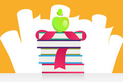 Graduation apple and books vector illustration Stock Photo