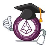 Graduation Augur coin character cartoon. Vector illustration Royalty Free Stock Images