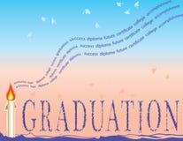 Graduation avec les mortiers et la bougie Image libre de droits
