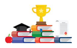 Graduation awards pedestal with cup, graduate cap and certificate. Royalty Free Stock Image