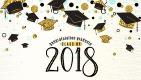 Graduation background class of 2018 with graduate cap. Black and gold color, glitter dots on a white golden line striped backdrop. Hat thrown up. Vector stock illustration