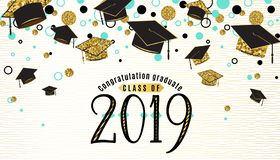 Graduation background class of 2019 with graduate cap, black and gold color, glitter dots on a white golden line striped
