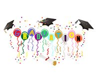 Graduation Ballons for celebration illustration. Balloons with Graduation on them, with mortarboard, diploma, streamers and confetti, to celebrate your great day Royalty Free Stock Photography