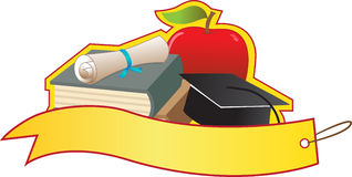 Graduation Banner. Blank banner with books, diploma, graduation cap and apple. Eps10 stock illustration