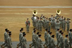 Graduation from Basic. Soldiers marching by the Army Band royalty free stock images