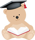 Graduation bear. Graduation teddy bear with mortar board and book Royalty Free Stock Photography