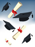 Graduation cap. And diploma isolated on a white background Stock Photography