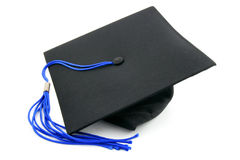 Graduation cap. With a blue tassel isolated on white Royalty Free Stock Image